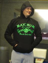 Kapuzensweater Schwarz mit Frontdruck